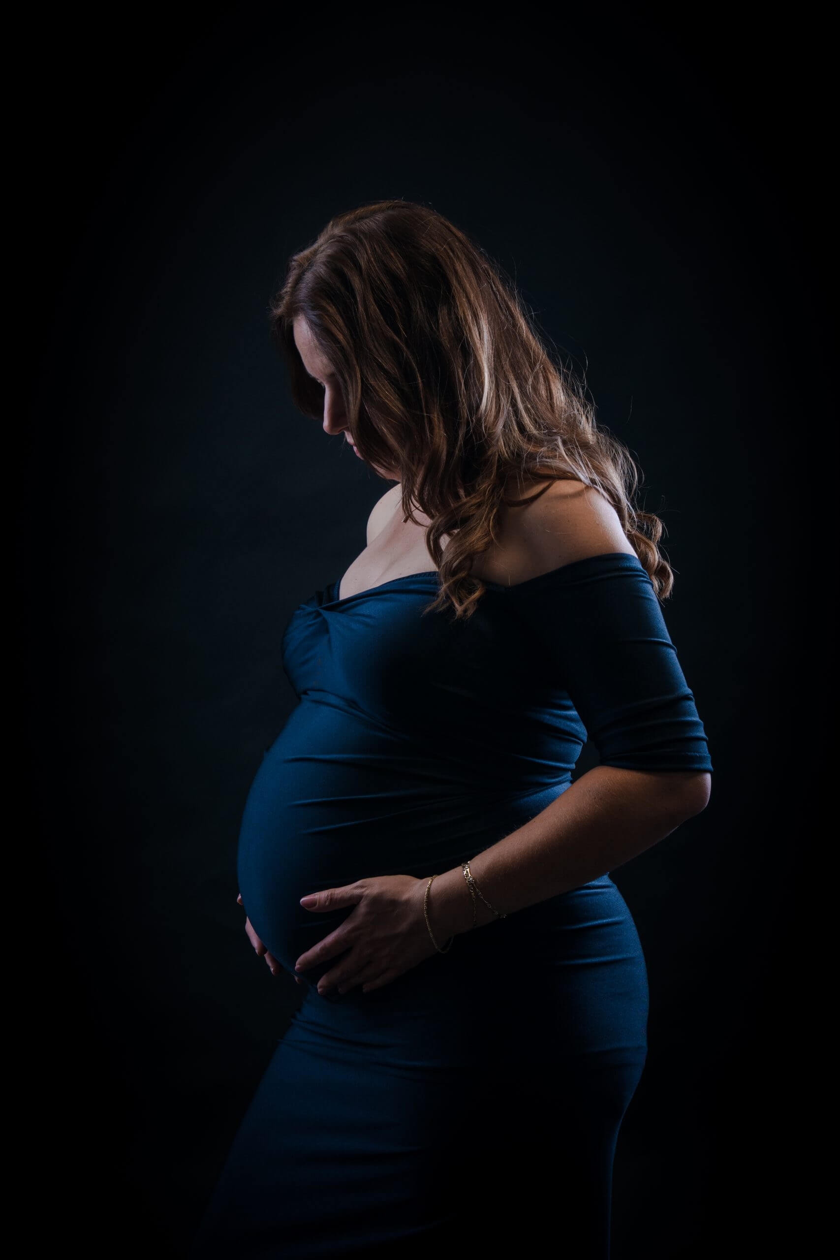 donkerblauwe jurk zwangerschap handgemaakte utrecht