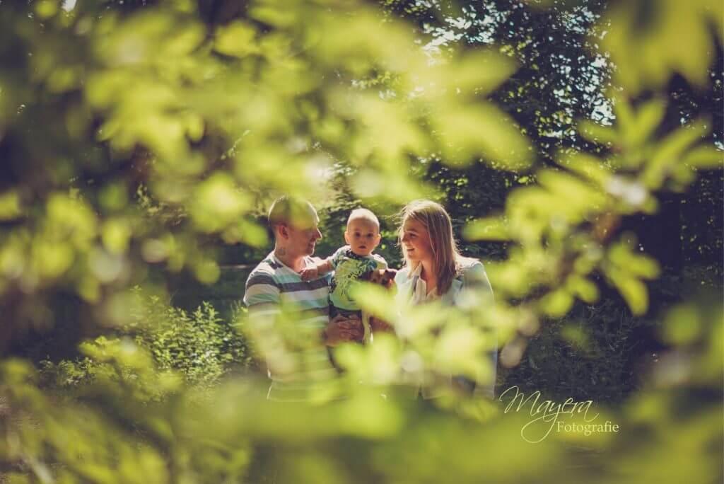 gezins foto in het bos