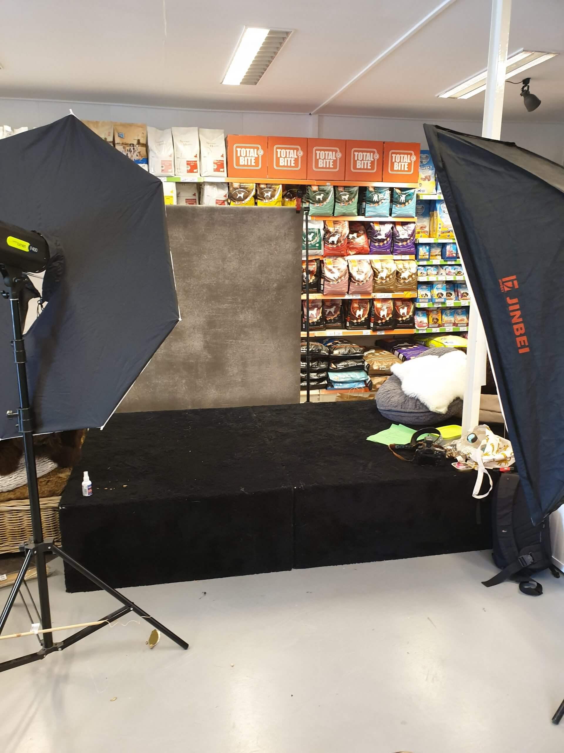 Backstage dierenwinkel fotoshoot