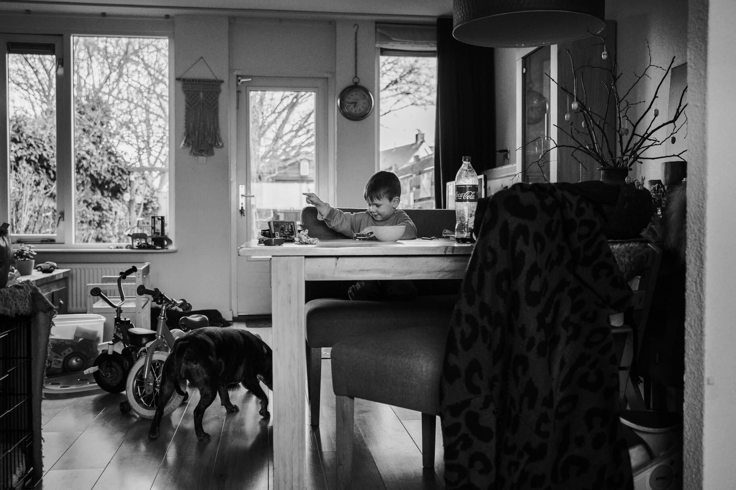 Day in the life zwart wit aanrecht keuken hond Wijk bij duurstede