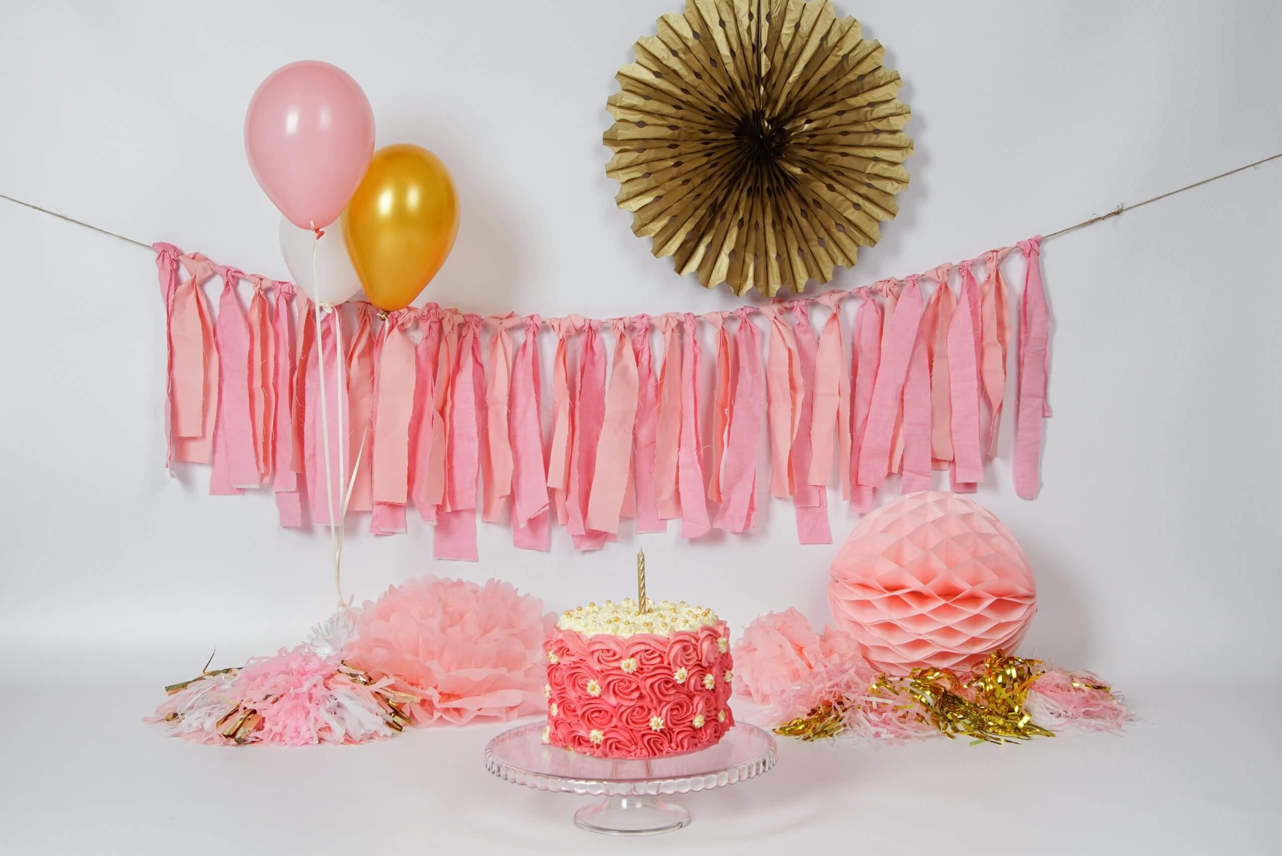 Cake Smash roze goud meisje props taart taartje Utrecht