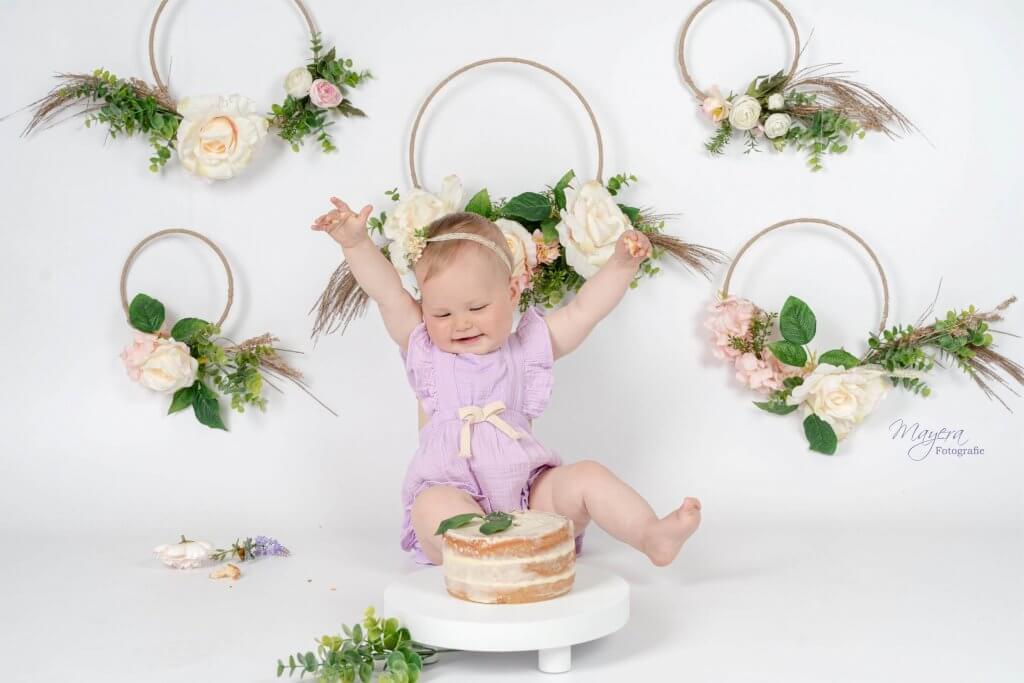 Cake smash baby bloemen boho fotoshoot studio flowers Reeuwijk