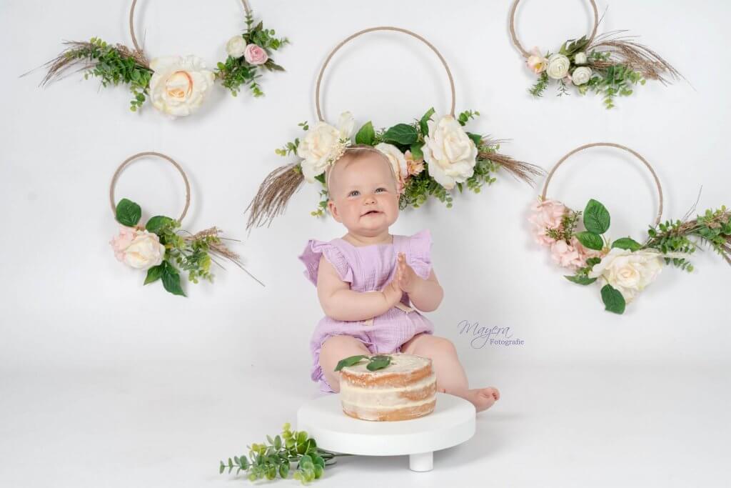 Cake smash baby bloemen boho fotoshoot studio flowers woudenberg