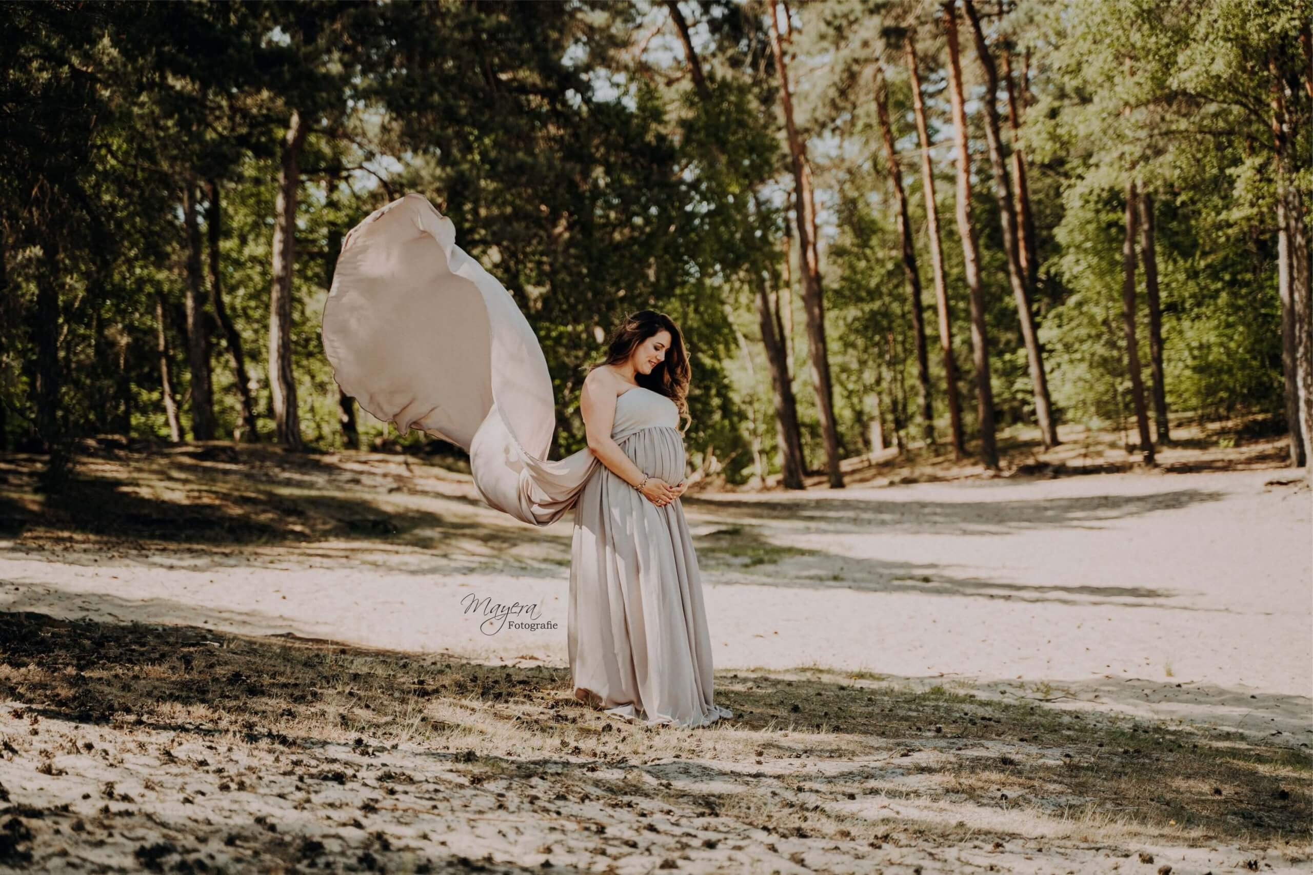 a Zwangerschap Grote bos doorn maternity jurk natuurlijk zandvlakte