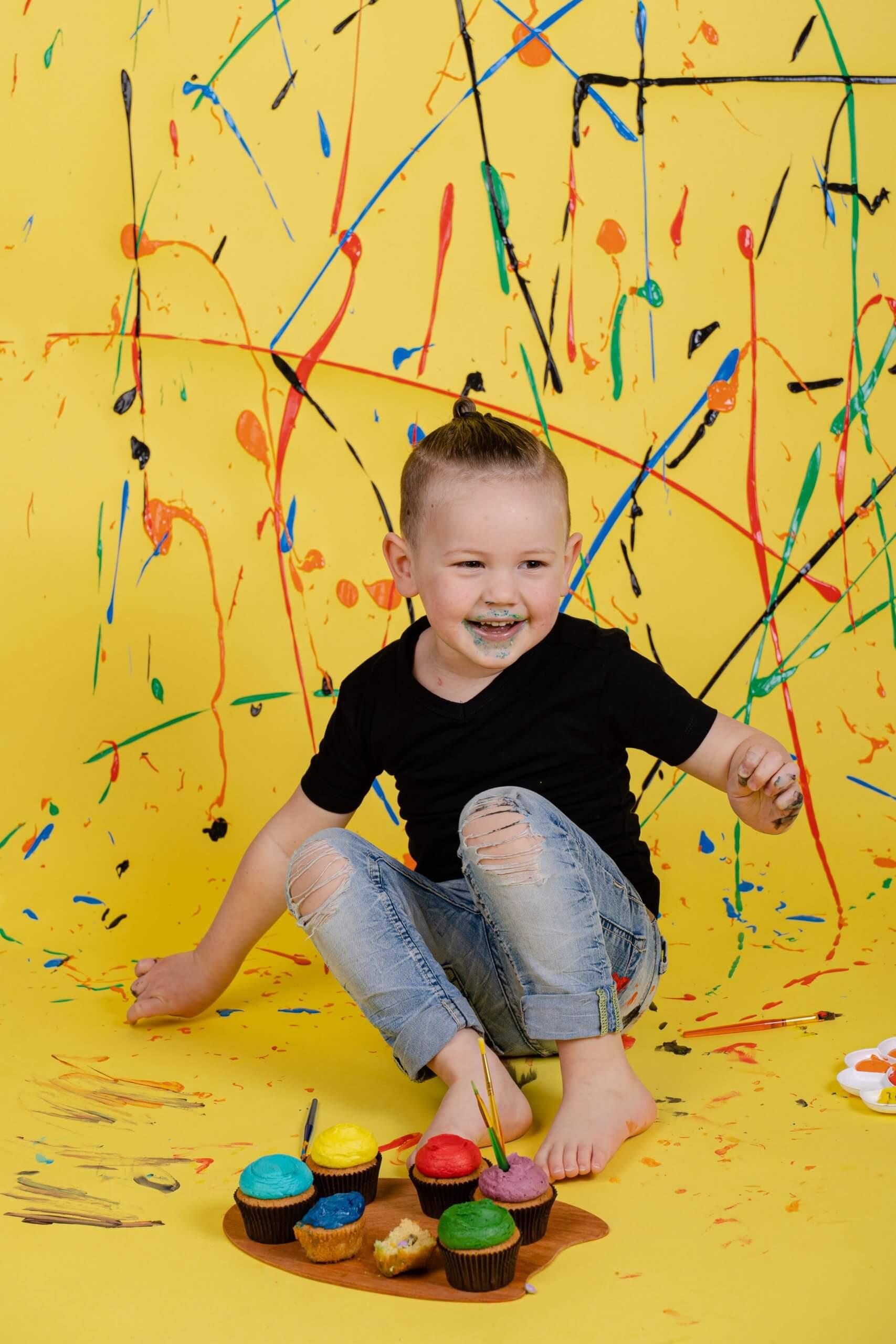 Cake Smash 4 jaar oud feest party cake paint verf painting Driebergen