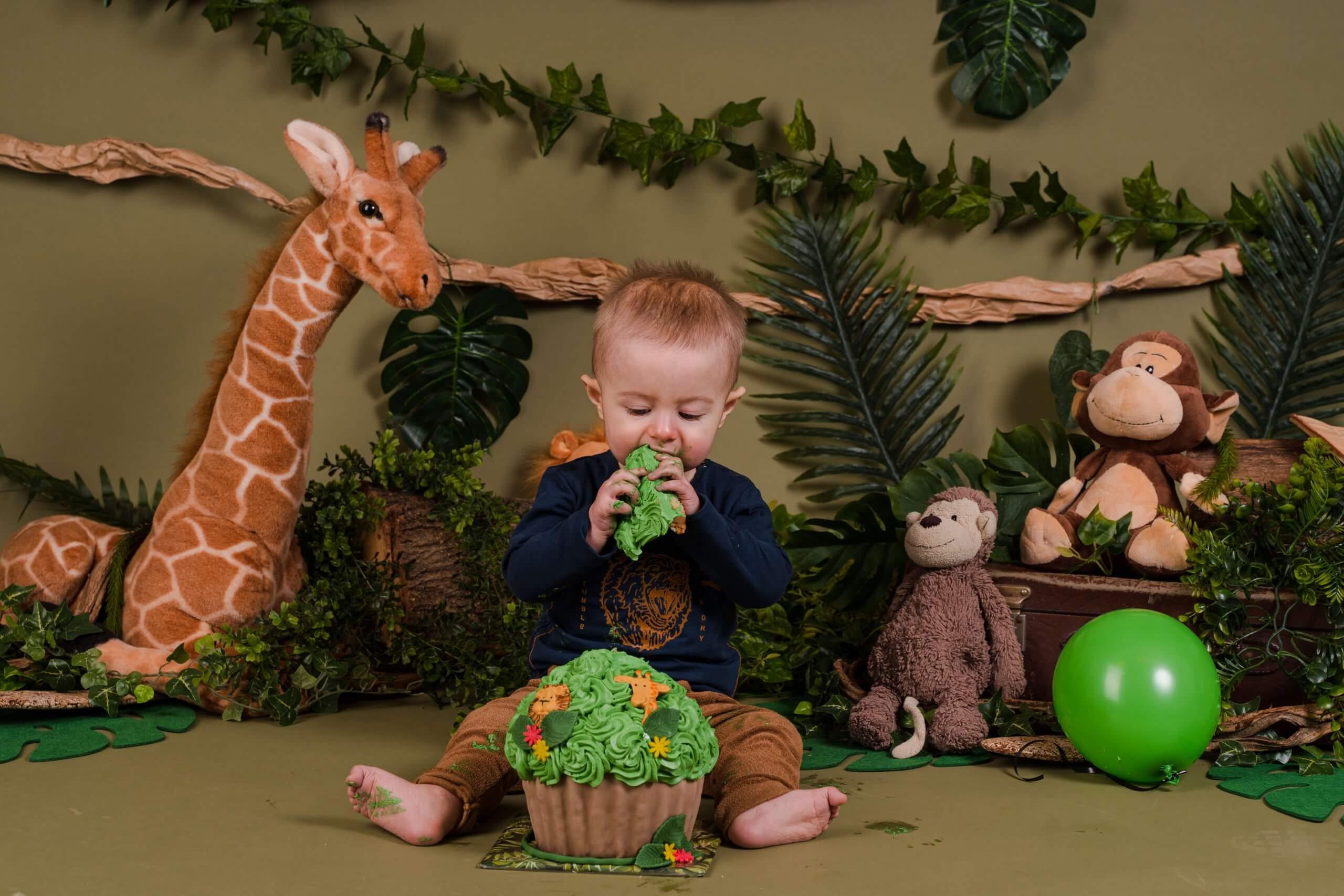 Cake smash jungle thema jongens jarig feestje versiering one wild fotoshoot amersfoort ede schoonhoven