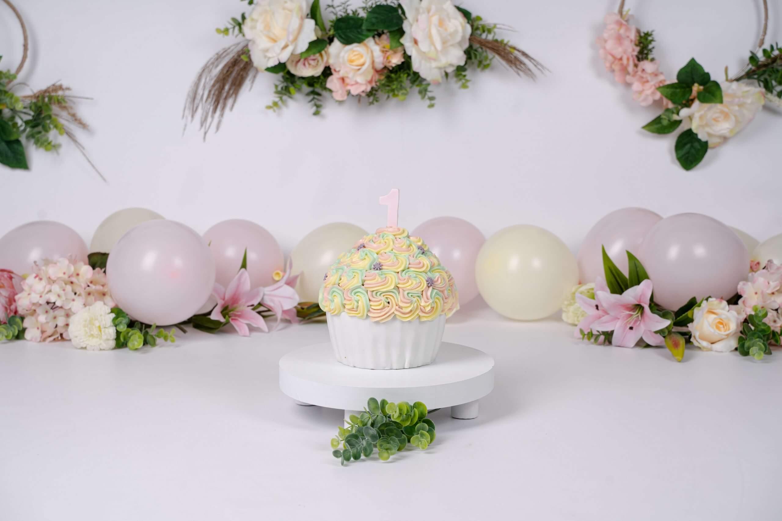 Cake smash sitter feest roze unicorn girl rozen boho (1 van 1)