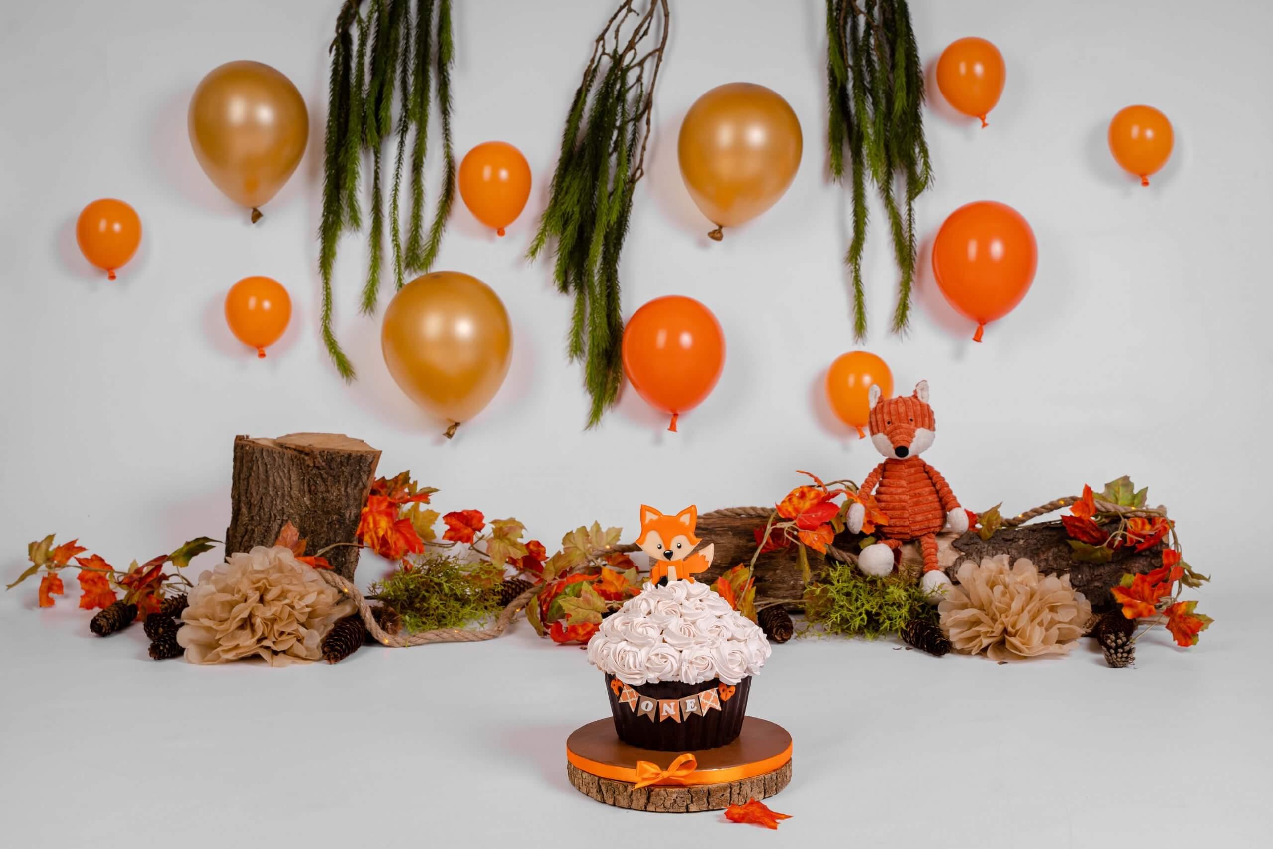Cake smash vossen thema vos bos forest verjaardag feestje versiering