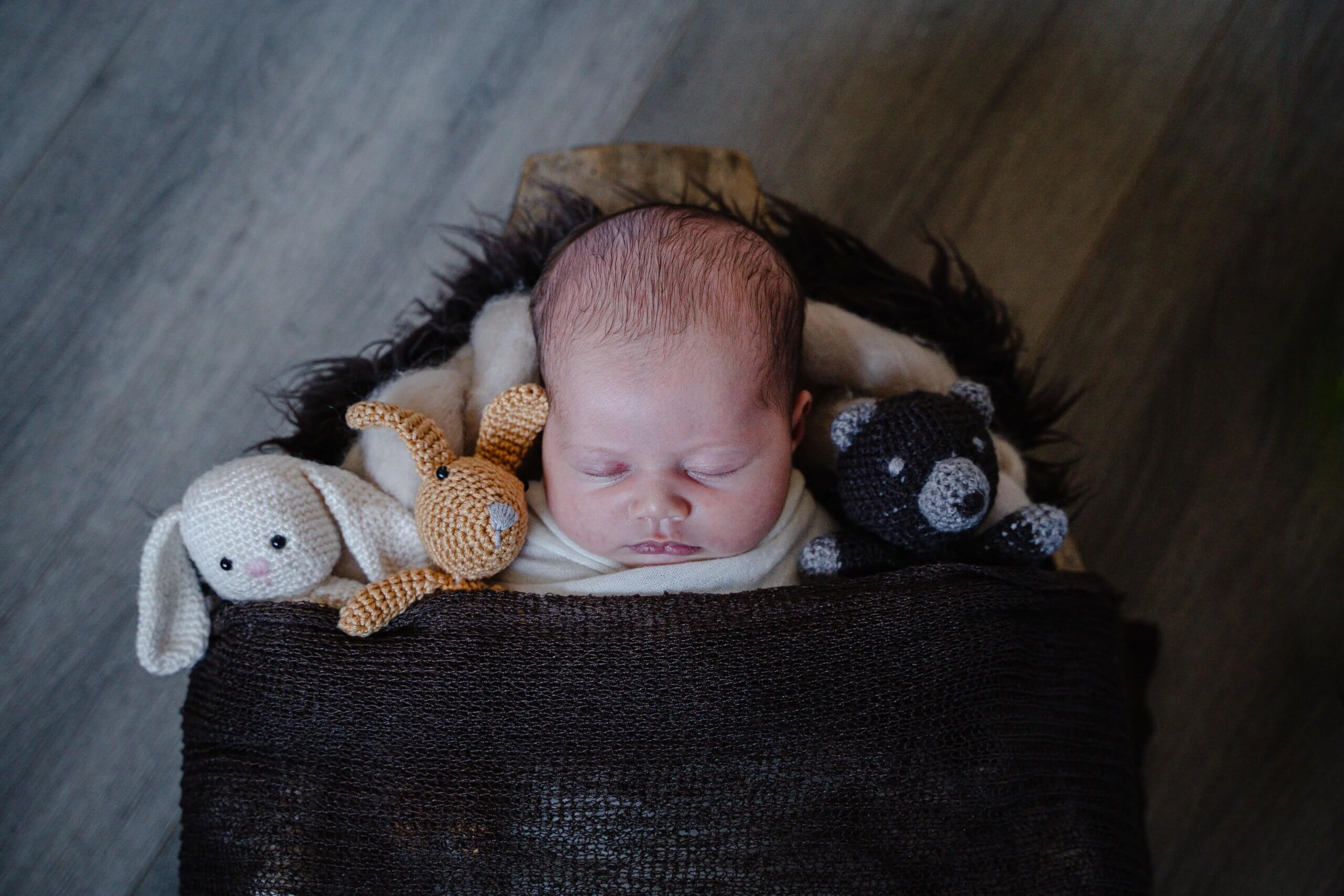 Newborn knuffels lief cute baby newbornbaby fotoshoot bij je thuis
