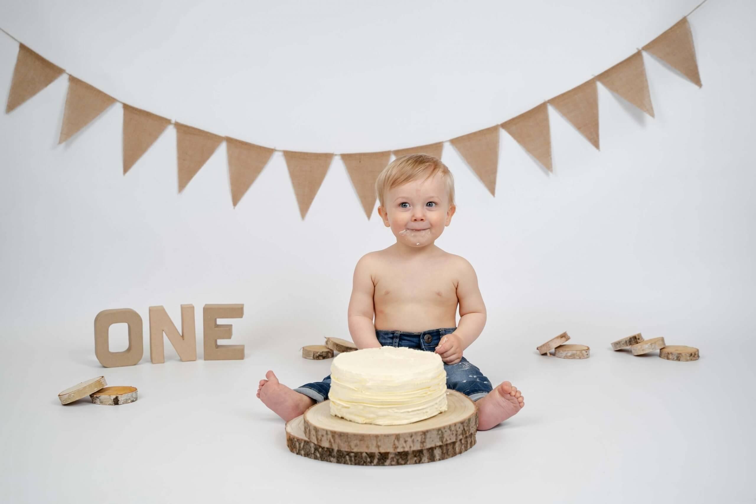 Cake smash naturel beige rustig thema feest